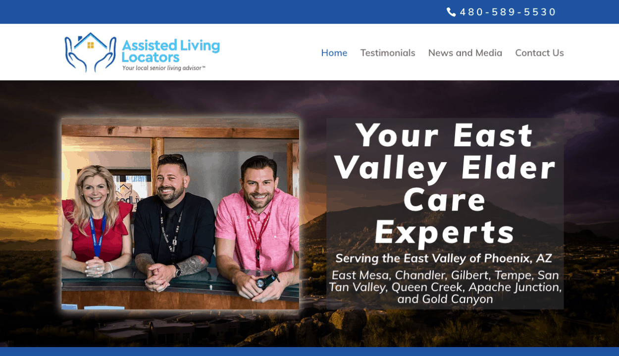 Assisted Living Locators East Valley website screenshott