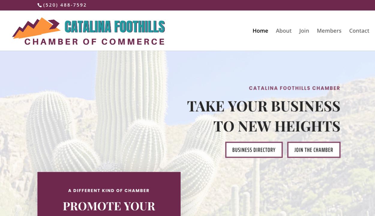 Catalina Foothills Chamber website screenshot