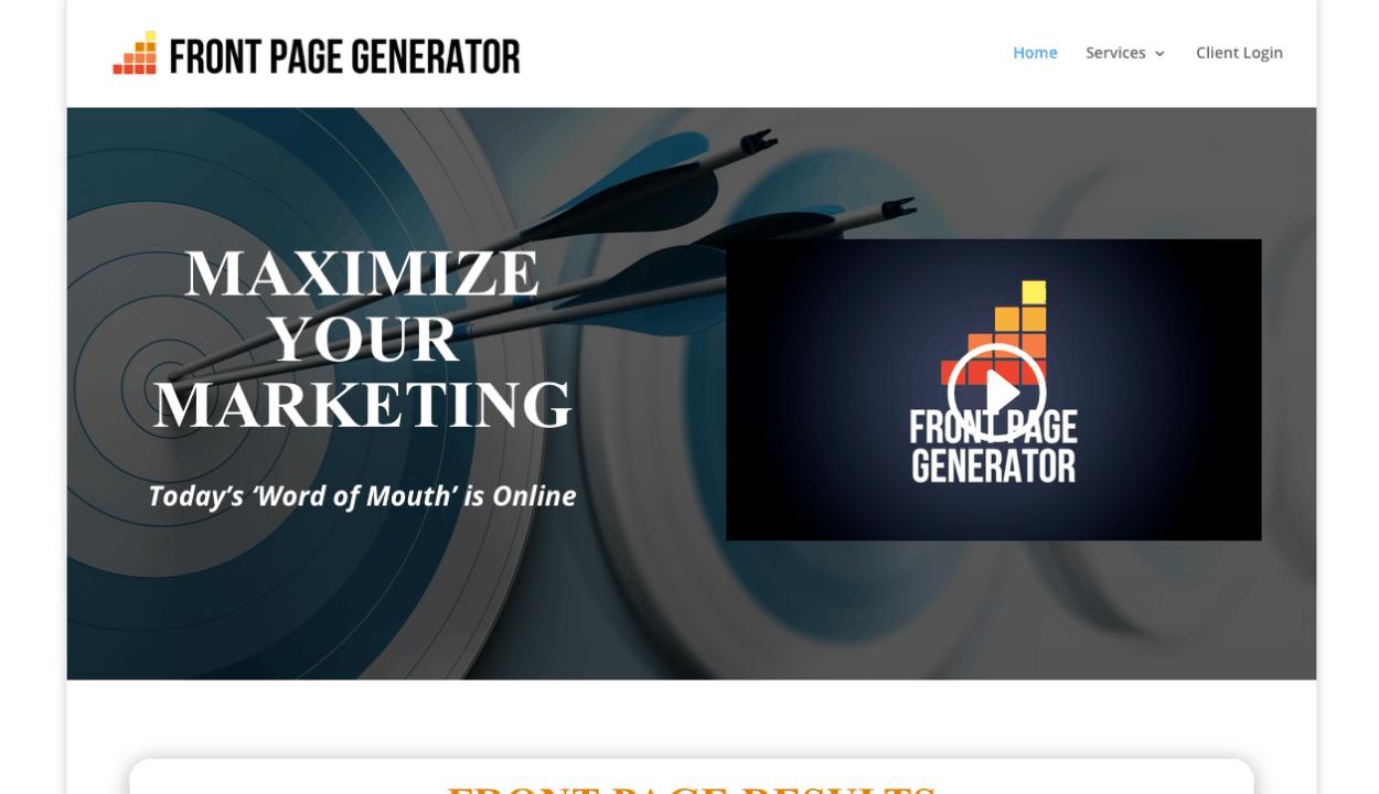 Front Page Generator website screenshot