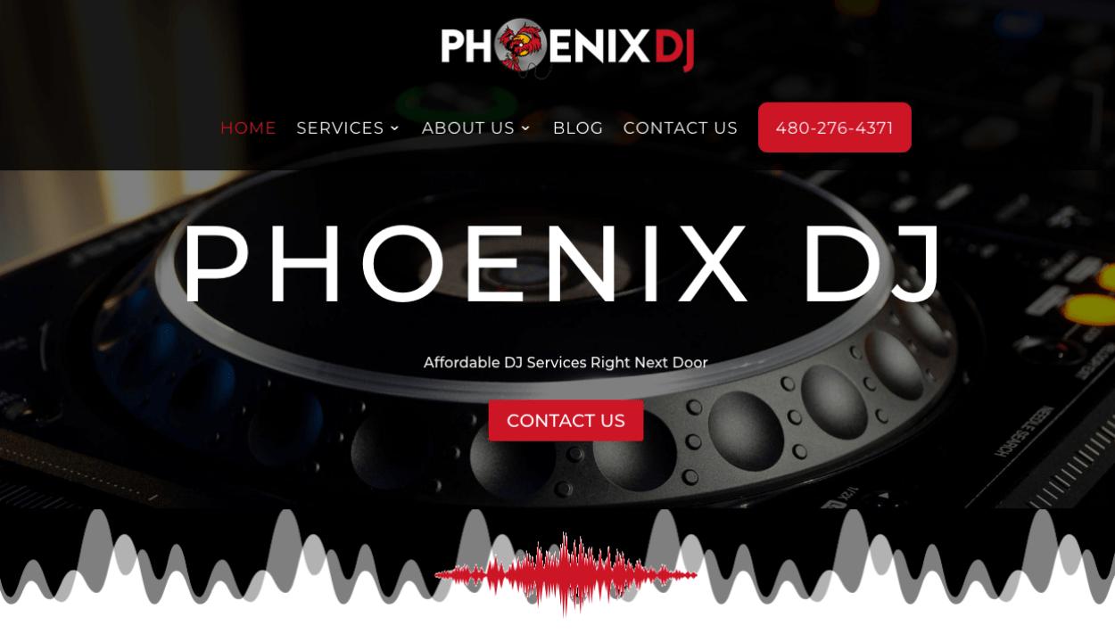 Phoenix DJ website screenshot