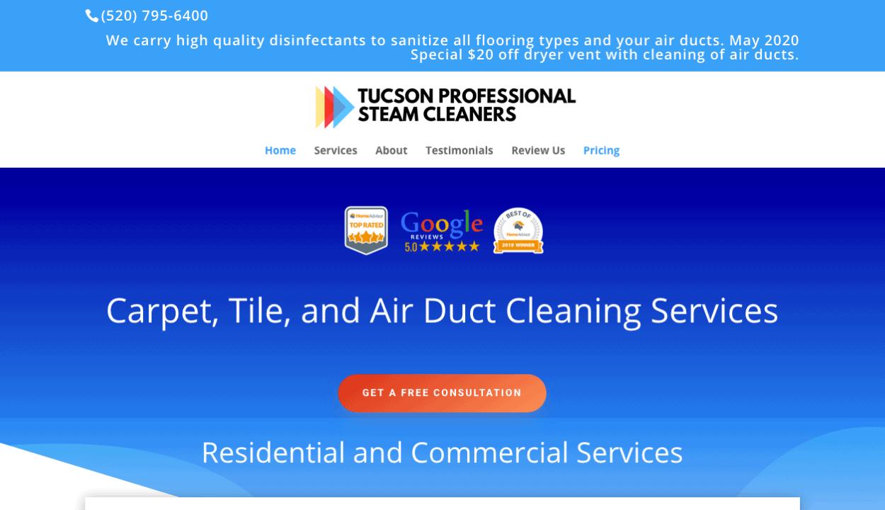 Tucson Professional Steam Cleaners website screenshot