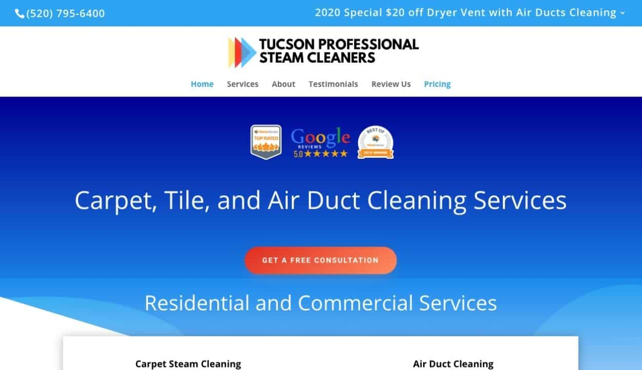 Tucson Steam Cleaners website